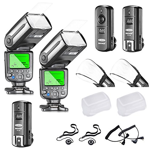 Neewer NW565EX E-TTL Slave Flash Speedlite Kit for Canon DSLR Camera,include:(2)TTL Flash+(1)2.4G Wireless Trigger(1 Transmitter,2 Receiver)+(2)Soft&Hard Diffuser+C1/C3 Cables+(2)Lens Cap Holder