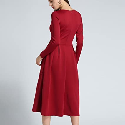 vestidos invierno otoño mujer baratos vestidos de fiesta para bodas largos tallas grandes con bolsillos clásicos, dobladillo suelto de manga larga, ...