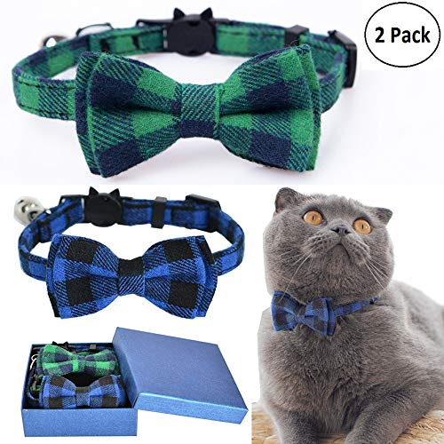 M-YOUNG Cat Collar Breakaway with Bell and Bow Tie, Plaid Design Adjustable Safety Kitty Kitten Collars(6.8''-10.8'') (2pcs Green&Blue)