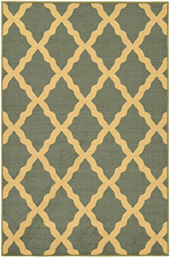 Ottomanson Ottohome Collection Seafoam Color Contemporary Morrocon Trellis Design Area Rug with Non-Skid Rubber Backing, Seafoam, 8'2