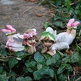Set de 2 adornos de resina para jardín, diseño de hada recostada y flor
