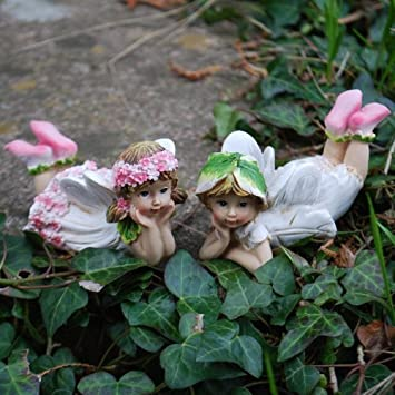 Set Of Two Laying Flower Fairy Resin Garden Ornaments