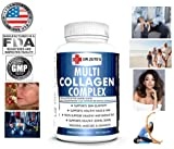 DR.ZUTE'S Multi Collagen Complex peptides Protein Capsules USA Formulated FDA Approved, No Soy Gluten Lactose, Supports Healthy Skin Joint Cartilage Bone Hair Nail Sleep Gut, Fitness Supplement 120ct For Sale