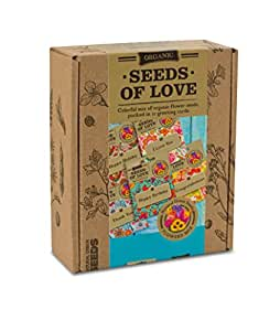 SEEDS OF LOVE - Colorful Mix of Organic Flower Seeds Packed in 10 Embellished Parcels by VREMI TM