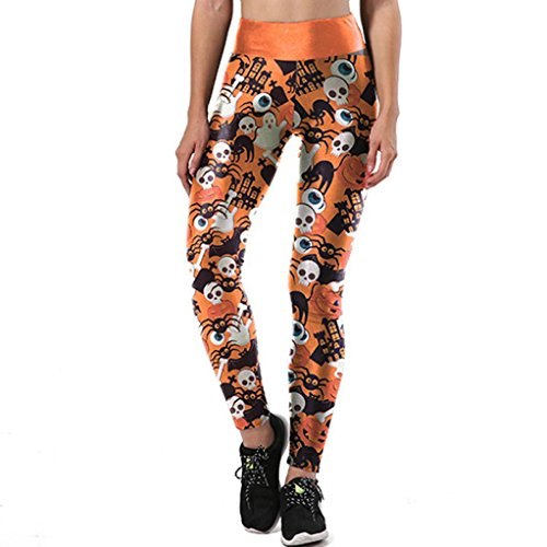 Halloween Pants, UBuyit Women Cartoon Terrible Skull Print Sports Running Stretch Leggings Pants Athletic Trouser (L, Orange) -