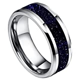 DOUX 8mm Mens White Tungsten Carbide Ring Purple Goldstone Inlay Sparkling Wedding Band High Polished(11)