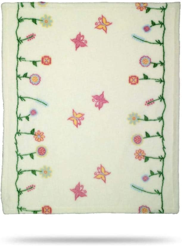 Denali Ultimate Comfort Baby Blanket, Plush, Hand-Stitched, Super Cozy Blankets Made in The USA, Whimsical Floral Cream