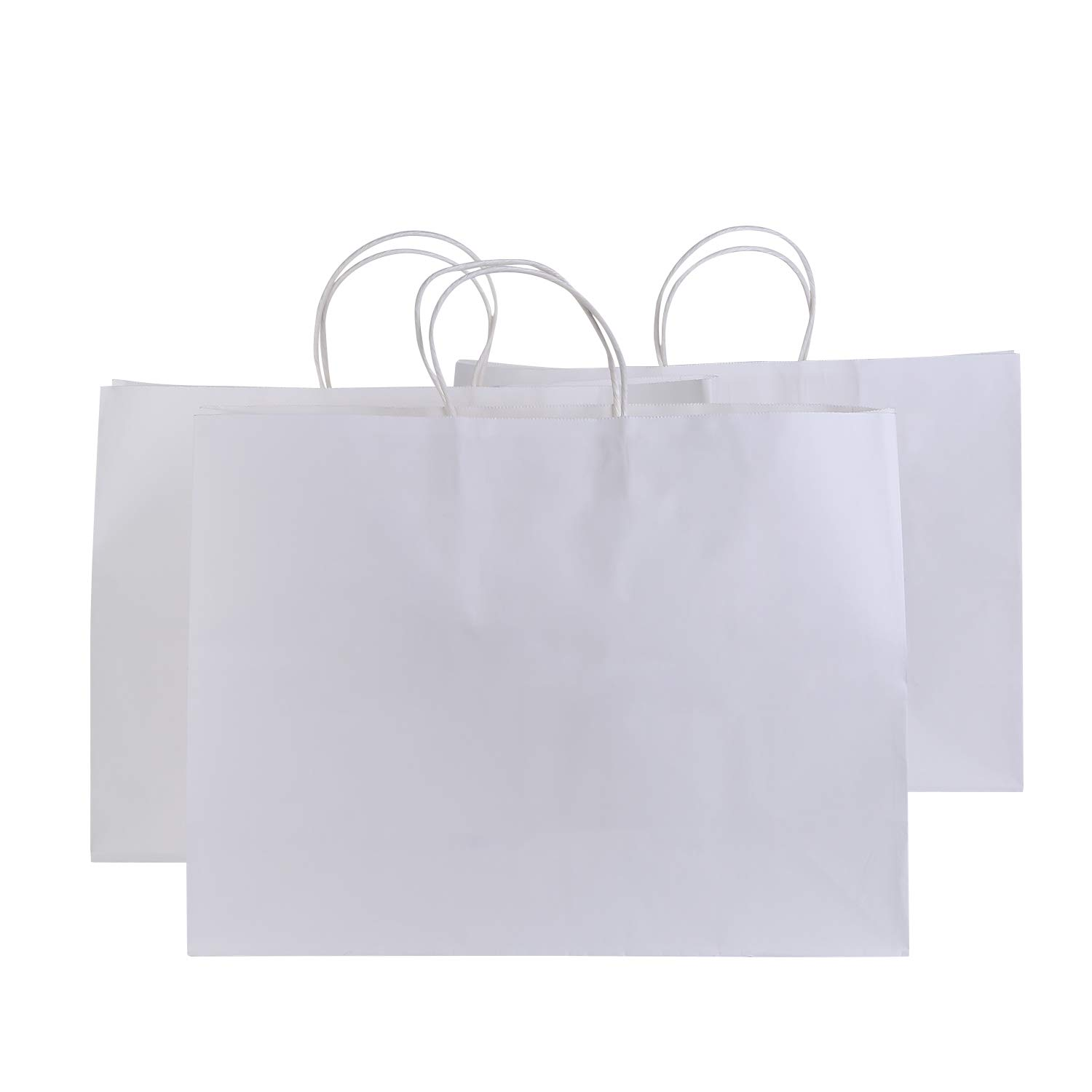 Road 16x6x12 inches 50 Pcs Large Kraft White Paper Bags with Handles, Shopping, Grocery, Mechandise, Party Bags 4336879664