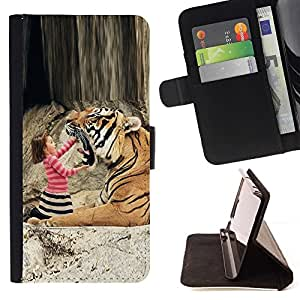 Momo Phone Case / Flip Funda de Cuero Case Cover - Tiger Ni?a linda que juega Madre Mamá - LG G2 D800
