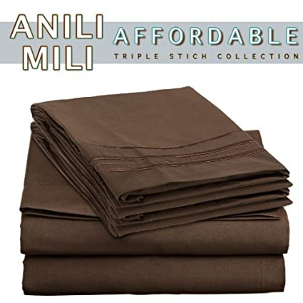 De Anili Mili Triple puntada bordado asequible 4 PC hoja de cama Set - Queen Size