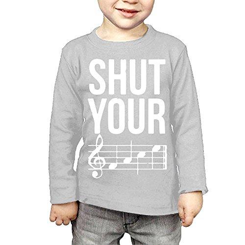 ZheuO Boys & Girls Baby Shut Your Face Chord Soft 100% Cotton Tee Unisex Gray 4 Toddler