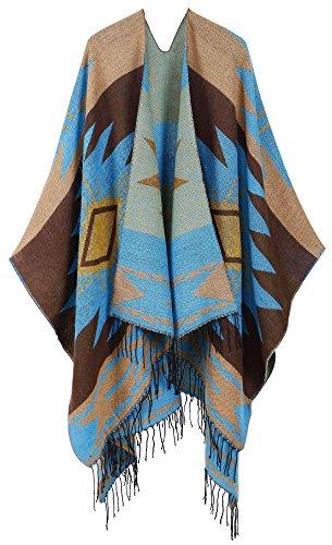 Knit Wool Wrap - Andorra Women's Vintage Soft Merino Wool Kimono Wrap Cardigan Ruanas w/Tassels (Vision - Powder)