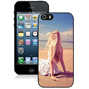 Fashion Custom Designed Cover Case For iPhone 5S Phone Case With Blonde Girl Beach_Black Phone Case