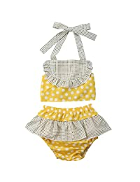 ONE's Baby Toddler Girls Halter Neck Polka Dot Crop Top with Ruffle Short Summer Beach Sunsuit