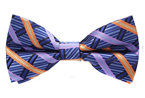 Plaid Striped Tie - Flora&Fred Handmade Jacquard Woven Designer Striped and Plaid Bow Tie Blue and Orange