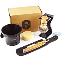 Anbbas Shaving Set with Best Badger Shaving Brush,Stand and Resin Bowl,Shaving Soap 3.5oz,Solid Olive Wood Handle Straight Shavette Razor,Leather Shaving Razor Bag,10pcs Blades,7in1 Kit for Men