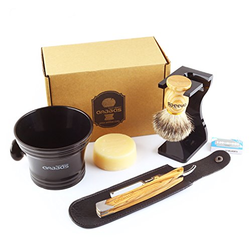 Anbbas Shaving Set with Best Badger Shaving Brush,Stand and Resin Bowl,Shaving Soap 3.5oz,Solid Olive Wood Handle Straight Shavette Razor,Leather Shaving Razor Bag,10pcs Blades,7in1 Kit for Men