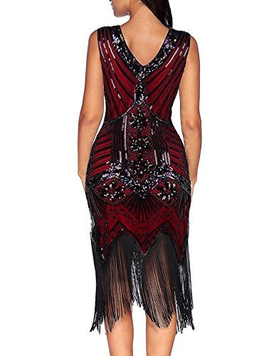 [True Meaning nice 1920s Sequined Inspired Beaded Gatsby Flapper Evening Dress Prom (M, Red)] (H And M Flapper Dress)