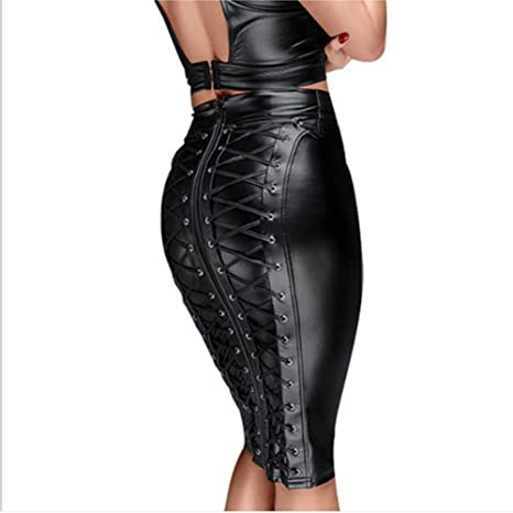 Xingjo Wet Look Sexy Faux Leather Latex Mini Pencil Skirt,Cintura ...