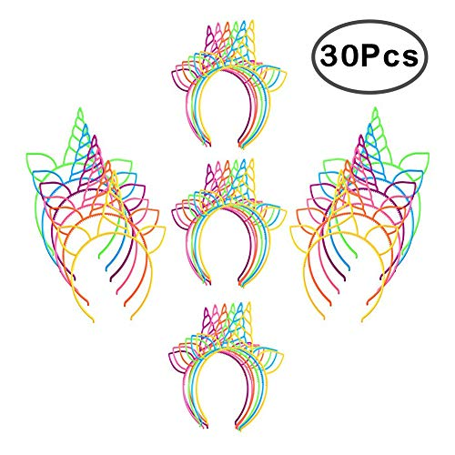 RoterSee 30 PCS Unicorn Headband Unicorn Horn Hair Hoop for Fancy Dress Cosplay Decoration Supplies (6 Colors 30 Pieces) ()