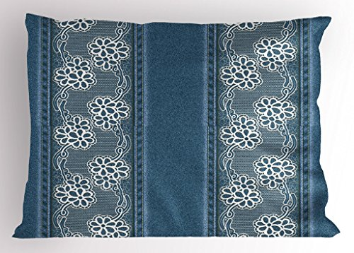 Ambesonne Floral Pillow Sham by, Blue Jeans Background with White Flower Motifs Pattern Denim Themed Digital Print, Decorative Standard Size Printed Pillowcase, 26 X 20 Inches, Blue White