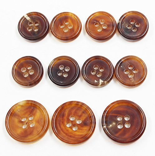 11 Pieces Genuine Natural Horn Blazer & Suits Button Set - for Blazer, Sport Coat, Uniform, Jacket (Light Brown) (Brown Horn Button)