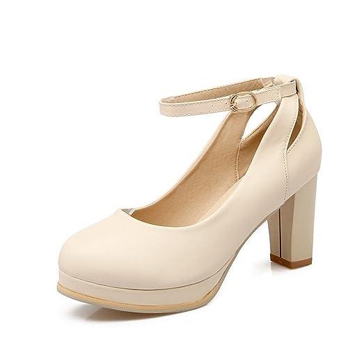 Ladies Buckle Chunky Heels Platform Microfiber Pumps Shoes