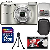 Nikon Coolpix A10 Digital Camera (Silver) 16GB Card + Case + Tripod + Kit