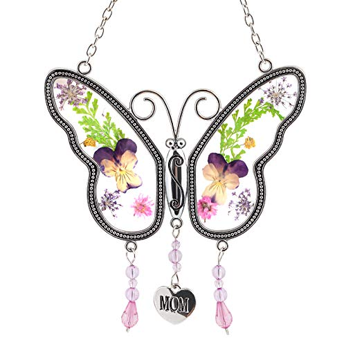 Naler Mom Butterfly Mother Suncatcher with Pressed Flower Wings and Heart Shaped Engraved Charm - Butterfly Suncatcher - Mom Gift for Mother's Day Thanksgiving Day