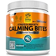 #LightningDeal 99% claimed: Zesty Paws Calming Soft Chews for Dogs - Anxiety Composure Aid Treats with Suntheanine - Organic Hemp & Valerian Root + L Tryptophan for Dog Stress Relief - For Storms + Barking & Chewing - 90 ct