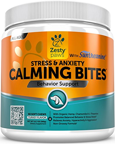 Calming Soft Chews for Dogs - Anxiety Composure Aid with Suntheanine - Organic Hemp & Valerian Root + L Tryptophan for Dog Stress Relief - For Storms + Barking & Chewing - Turkey Flavor - 90 Count