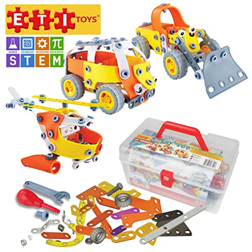 ETI Toys | STEM Learning | 148 Piece Junior Engineer Build & Play 5 Vehicle Building Blocks; Helicopter, Bus, Boat & More! Creative Skills Development! Gift Toy for 8, 9, 10 Year Old Boys and Girls