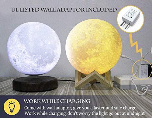 AED 3D Printed Moon Lamp with Stand, Touch & Remote Control, Three Colors, Dimmable, USB Rechargeable, Lunar Moon Night Light with UL Listed Adaptor, Christmas Thanksgiving Gifts (7.1INCH)