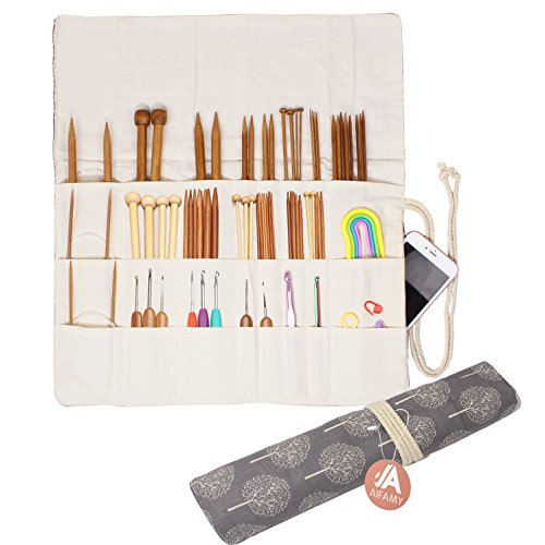 Knitting Needles Holder Case Rolling Organizer for Crochet Hooks Accessories (Gray Tree)