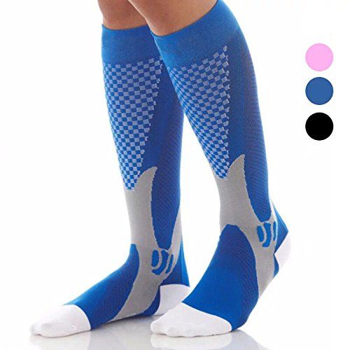 3 Pairs Compression Socks for Men and Women Graduated Athletic Socks for Sport Medical, Athletic, Edema, Diabetic, Varicose Veins, Travel, Pregnancy, Shin Splints, Nursing by Yodofa