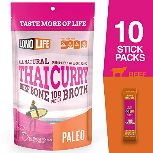 (LonoLife Thai Curry Beef Bone Broth Powder with 10g Protein, Stick Packs, 10 Count)