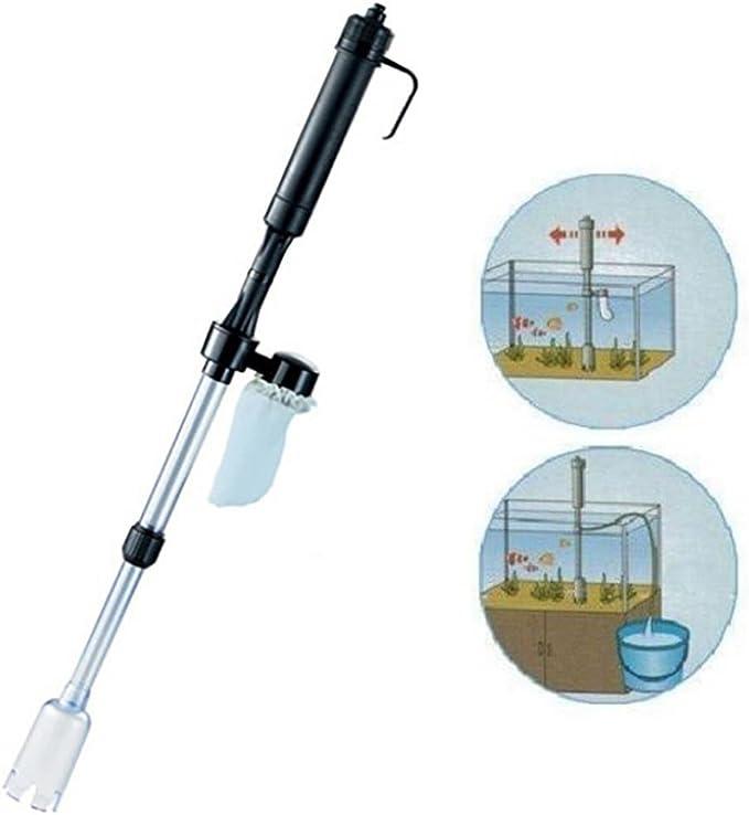 QHJ Aspirador para acuario de grava con batería para limpieza de peces, sifón, agua y vacío: Amazon.es: Productos para mascotas
