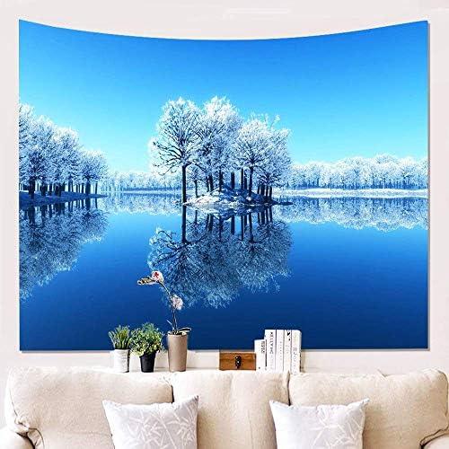 壁掛けタペストリー ぶら下げ絵画家3d雪風景壁布ぶら下げ布背景布ぶら下げタペストリー壁の装飾カーペット150 * 200センチ、7 寝室用タペストリー