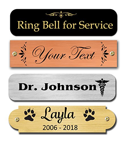 Nameplates, Metal Plate, Personalized, Custom Engraved Tag, Name Plaque, Square or Round Corners Made in USA (Satin Silver) (Silver Metal Name Tag)