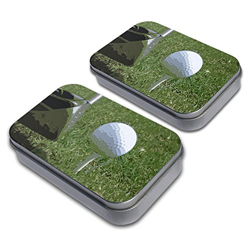 Golf Ball Trinket - I'd Rather Be Driving a Golf Ball Decorative Craft Trinket Metal Tin Box Set of 2