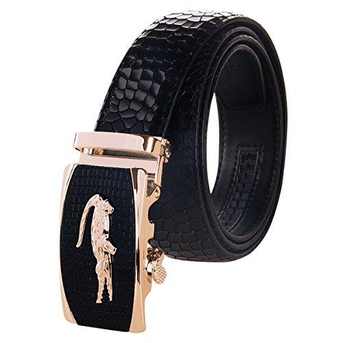 Men's Holeless Leather Ratchet Derss Belt with Automatic Sliding Buckle - Trim to Fit (Suitable for 21