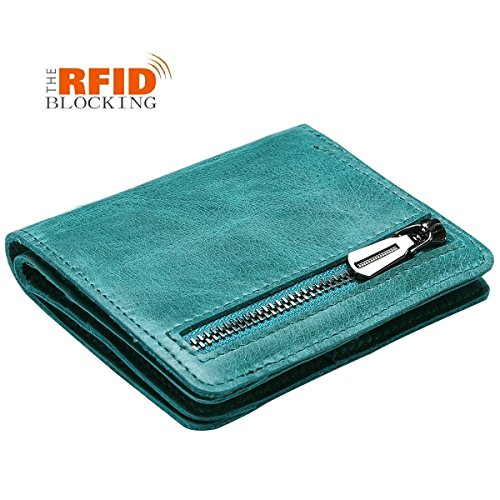 JSLOVE RFID blocking Women's genuine Leather Mini bifold Wallet with Coin Pocket (lake green))
