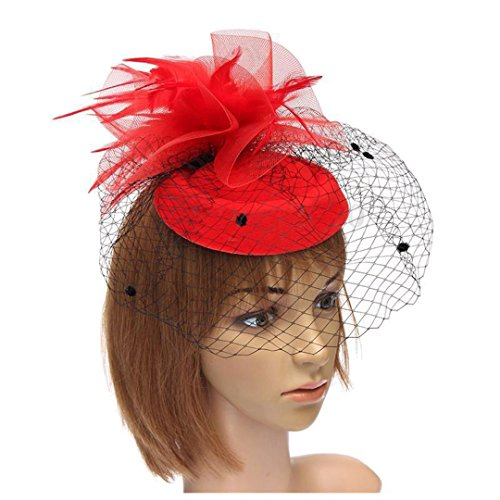 Women Handmade Hair Clip Accessory Wedding Veil Hat Feather Color Ivory Red