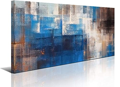 Large Dark Blue Abstract Wall Art Decor for Living Room Canvas Prints Picture Artwork Office Home Bedroom Wall Decoration 24x48