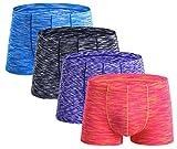 Seaoeey Male Modal Boxer Briefs Underwear 4 Pack Durable Seamless Undies red-Purple-Black-Blue Small