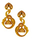 Anuradha Art Golden Matte Finish Styled With Peacock Styled Wonderful Traditional Jhumki/Jhumkas Earrings For Women