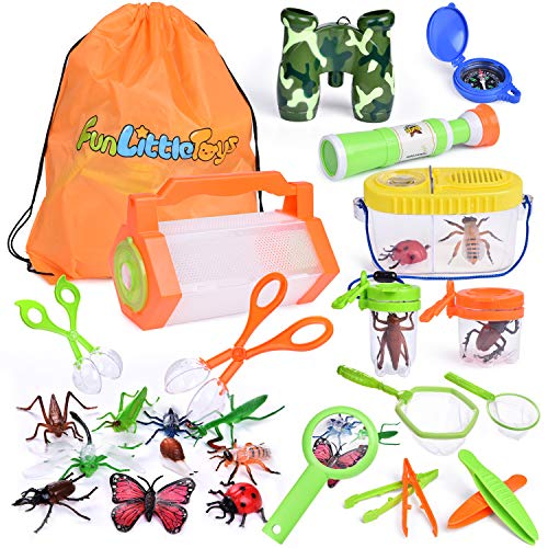 Tongs Glass - 27 PCs Bug Catcher Kits for Kids, Outdoor Explorer Kit with Bug Containers, Butterfly Nets, Magnifying Glass, Binoculars, Insect Traps, Bug Tongs, Telescope, Tweezers, Compass and Backpack