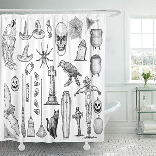 Emvency Shower Curtain 72 x 72 inches Etching Halloween Collection Drawing Engraving Ink Line Gravestone Ghost Grave Set with Hooks Decorative Waterproof Polyester Fabric Bathroom Shower Curtains -