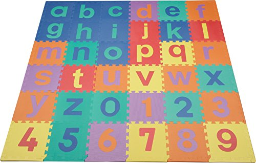 We Sell Mats Lowercase 36 Sq. Ft. Alphabet and Number Floor Puzzle-Each Tile 12