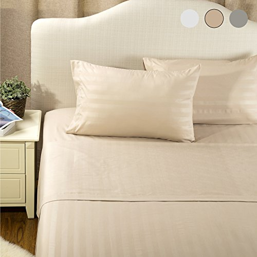 Sheet Set Queen Size Khaki Damask Stripe Design Bedding Sets with Deep Pocket 4 Piece Soft Smooth Wrinkle&Fade Resistant Hypoallergenic Microfiber Bed Sheets by Bedsure